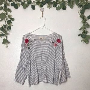 NWT Hollister Striped Floral Embroidered Top